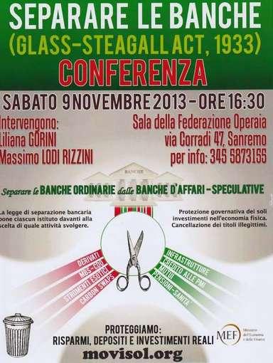 Conferenza di Sanremo sulla legge Glass-Steagall di separazione bancaria