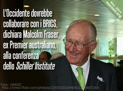 L'Occidente dovrebbe collaborare con i BRICS, dichiara Malcolm Fraser, ex Premier australiano, alla conferenza dello Schiller Institute