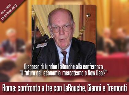 Discorso di Lyndon LaRouche alla conferenza