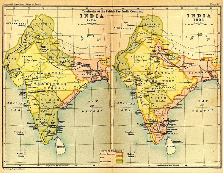 Possedimenti (in rosa) della Compagnia Britannica delle Indie Orientali nell'India del 1765 e del 1805