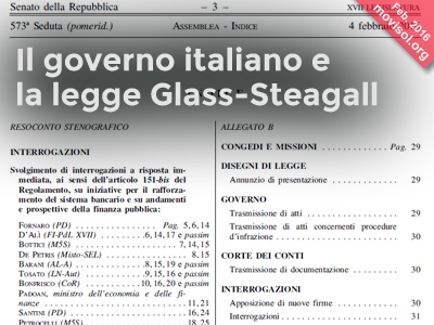 Il governo italiano e la legge Glass-Steagall