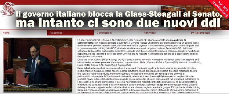 Il governo italiano blocca la Glass-Steagall al Senato, ma intanto ci sono due nuovi ddl