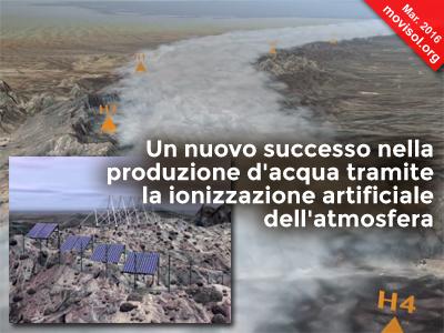 Un nuovo successo nella produzione d'acqua tramite la ionizzazione artificiale dell'atmosfera