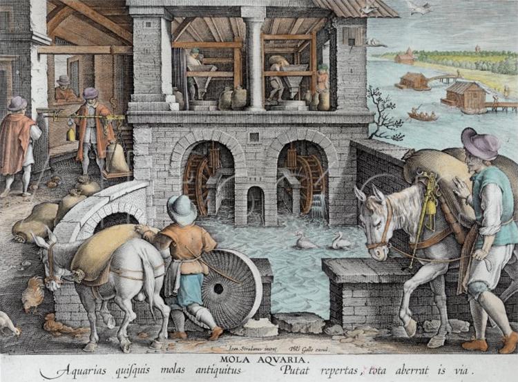 Mulino ad acqua. Illustrazione di Jan van der Straet