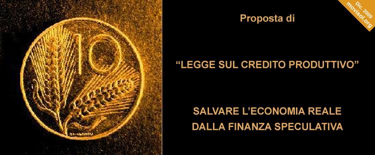 Proposta di Legge sul Credito Produttivo (2009)