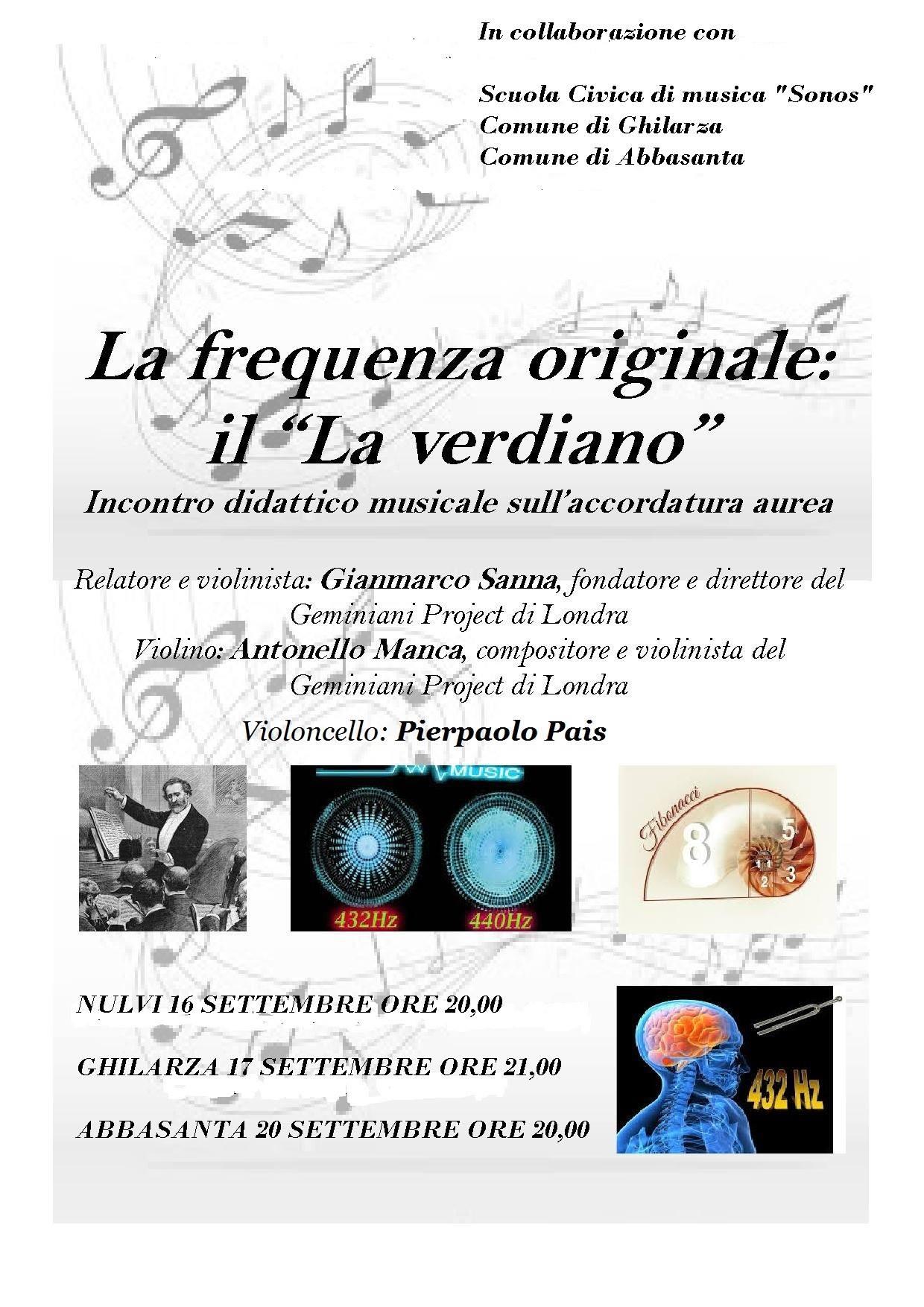 Conferenze concerto sul La verdiano in Sardegna