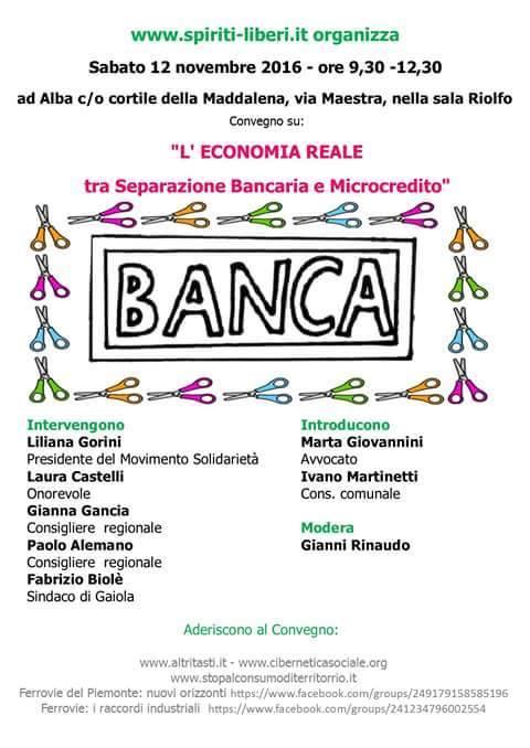 Invito per un convegno ad Alba il 12 novembre: prima di tutto la separazione bancaria