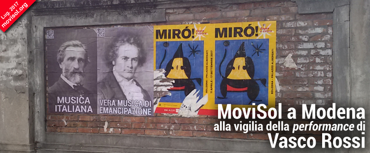 MoviSol a Modena alla vigilia della performance di Vasco Rossi